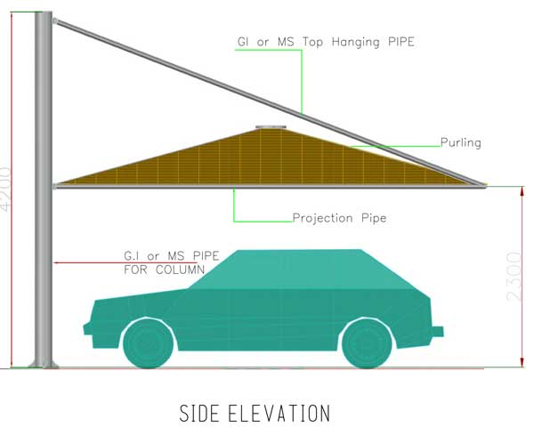 cantliver pyramid tent elevation