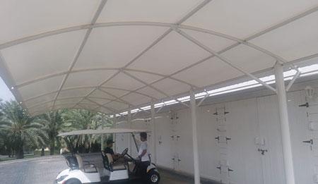 single pole arch car parking shades in uae