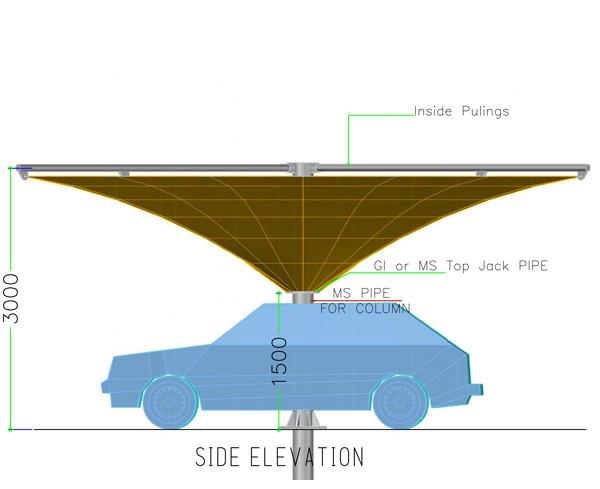 side elevation of inverted umbrella car parking shades
