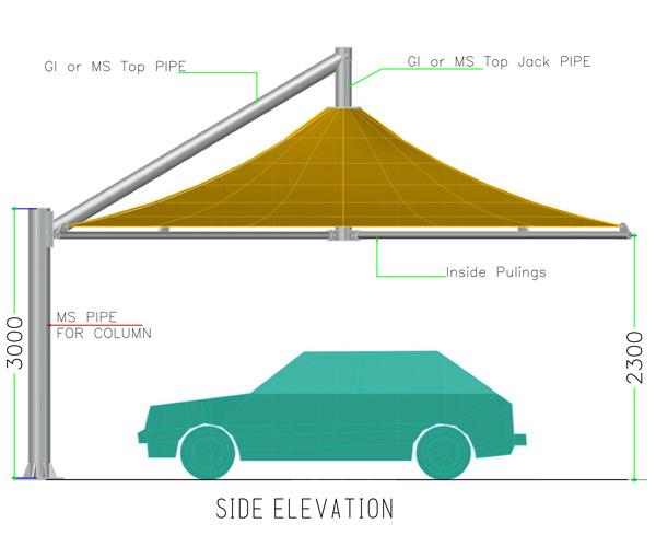 side elevation of umbrella car parking shades