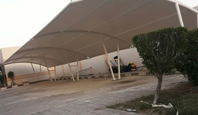 double pole arch car parking shades in dubai