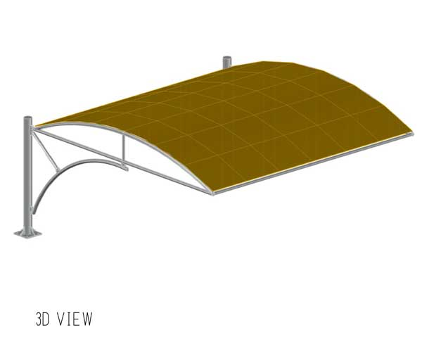 3d view of truss type car parking shades